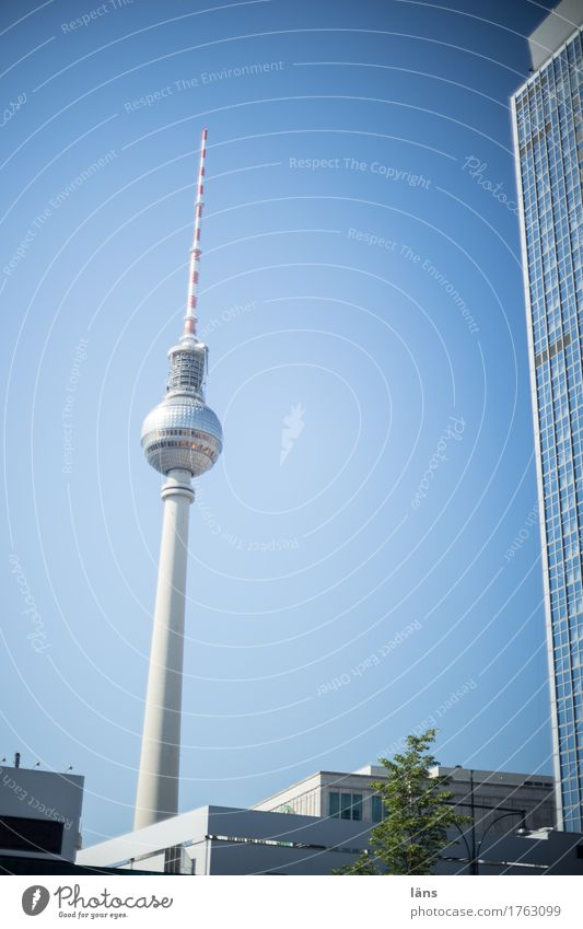 Photocase Day l City plant Sky Town Tourist Attraction Blue Berlin Berlin TV Tower Television tower Upward Exterior shot Copy Space left Light