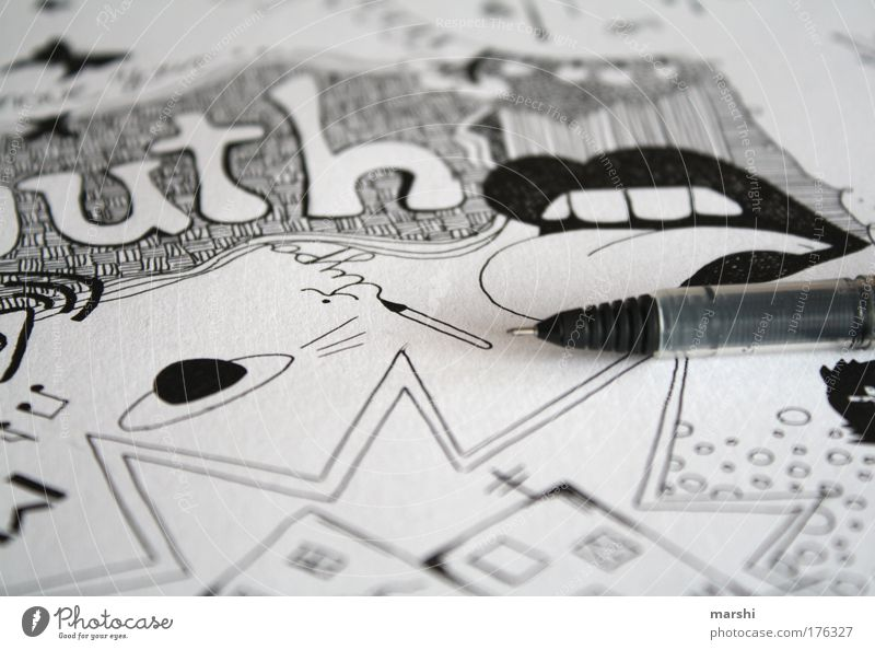 White Joy Black Dark Style Moody Line Bright Art Mouth Leisure and hobbies Characters Cool (slang) Image Illustration Sign