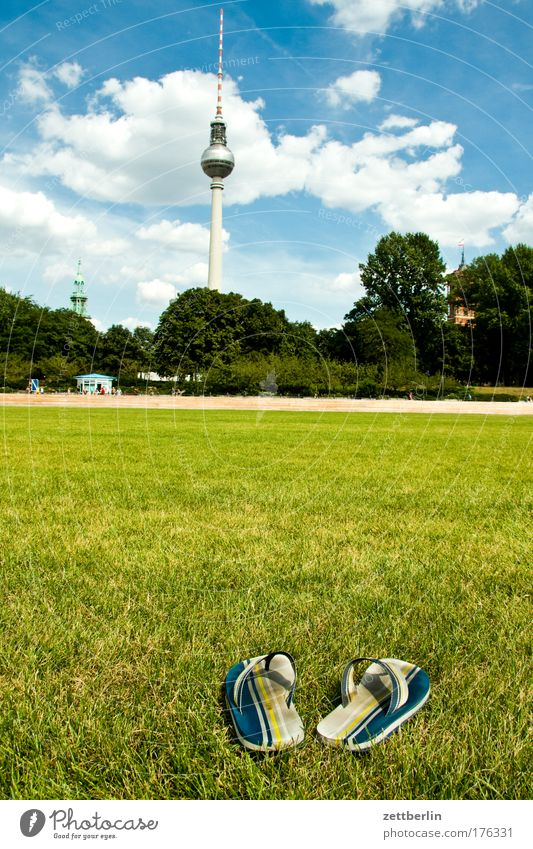 Sky Summer Vacation & Travel Clouds Berlin Meadow Grass Footwear Lawn Castle Skyline Nature City Berlin TV Tower Capital city Politics and state