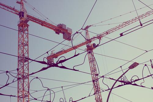 City Berlin Above City life Construction site New Downtown Crane Build Crossroads Untidy Skyward Overhead line Incomplete Terminal connector Construction crane