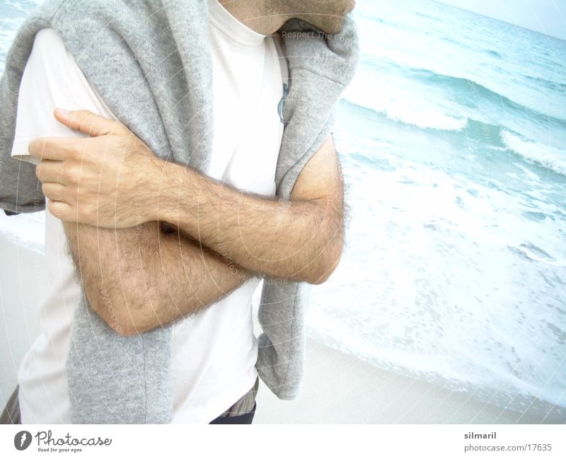 Watching the sea Walk on the beach Man Ocean Coast Man's arm Interlock Interlocked Freeze Faceless Headless Anonymous Unidentified Unrecognizable Wait Withdrawn