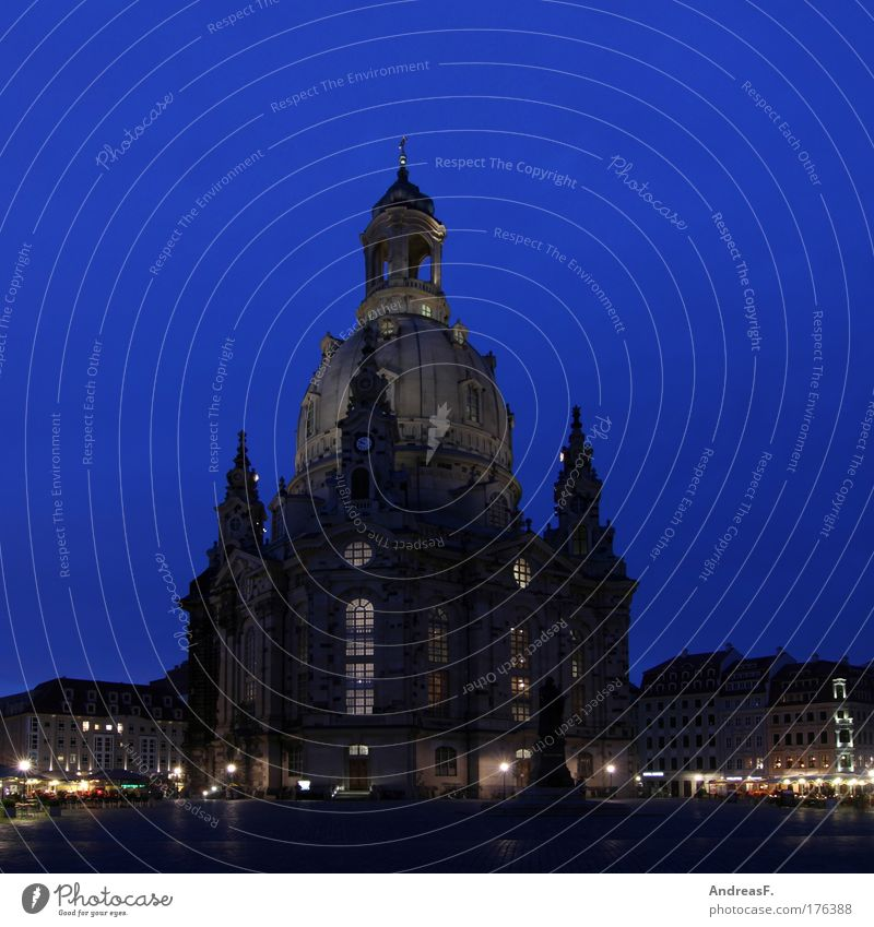 Church of Our Lady Colour photo Exterior shot Evening Twilight Night Dresden Germany Downtown Old town Marketplace Tourist Attraction Landmark Monument Esthetic
