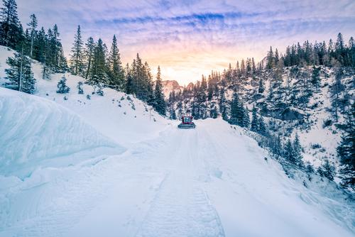 Alpine road mapped out in snow, Austria Beautiful Vacation & Travel Winter Snow Mountain Skiing Snowboard Nature Landscape Sky Clouds Weather Warmth Tree Forest