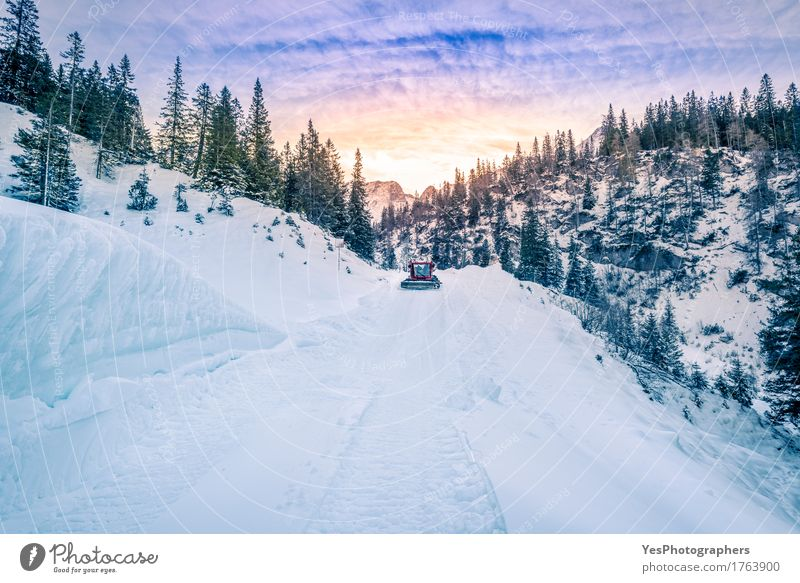 Alpine road mapped out in snow, Austria Sky Nature Vacation & Travel Blue Colour Beautiful White Tree Landscape Clouds Winter Forest Mountain Cold Street Warmth