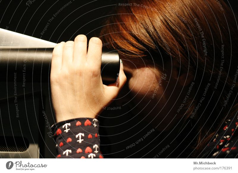 transparency Hand Red-haired Telescope Shadow Dark Face Looking Observe