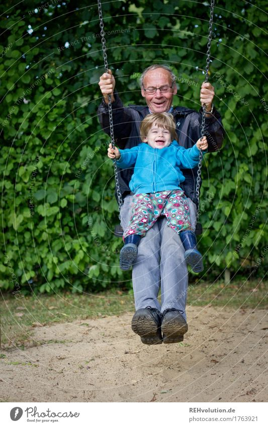 child swings together with grandpa Leisure and hobbies Playing Human being Masculine Child Toddler Boy (child) Man Adults Male senior Grandfather Infancy 2
