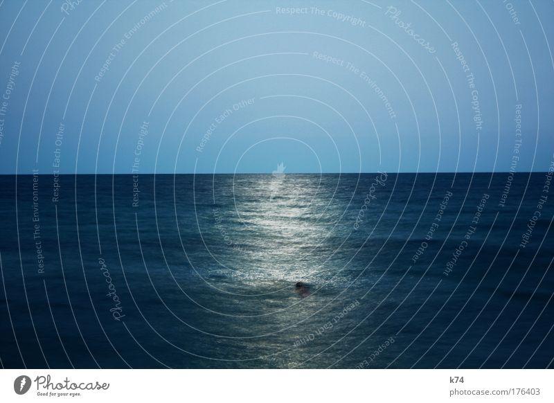 moonlight swimmer Moon Ocean Light Horizon Calm Blue Harmonious Water Bridge Longing Wanderlust Pipe dream Swimming & Bathing
