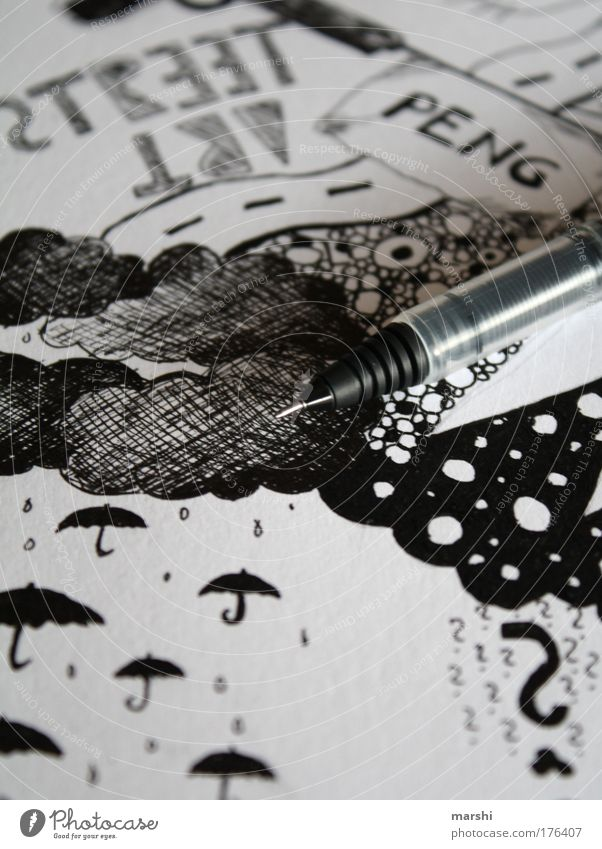White Joy Black Clouds Style Rain Art Design Protection Cool (slang) Leisure and hobbies Decoration Umbrella Media Pen Draw