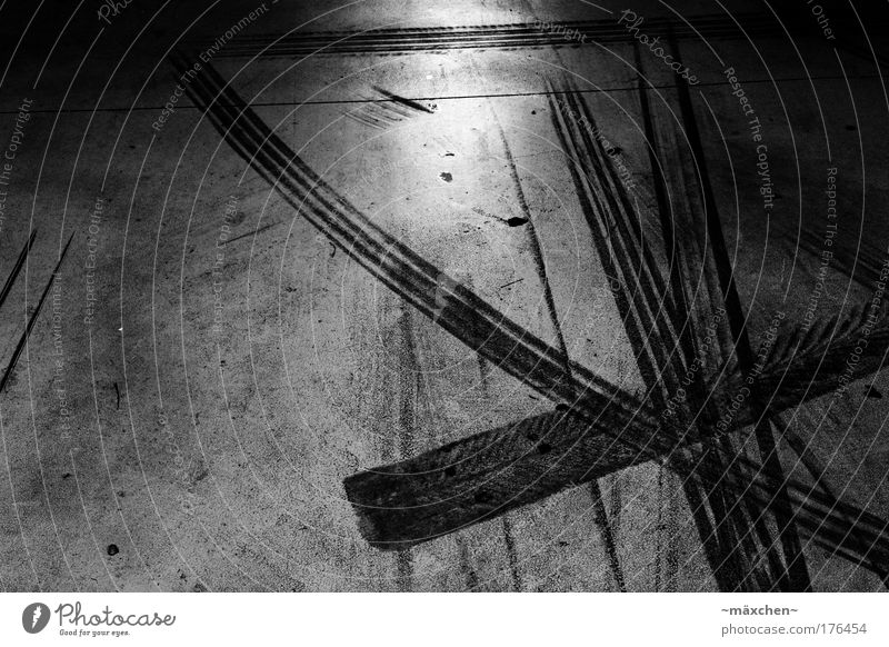 multi-storey car park Black & white photo Interior shot Close-up Abstract Structures and shapes Deserted Artificial light Contrast Reflection
