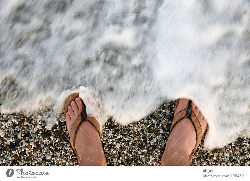 beach feeling Colour photo Exterior shot Copy Space top Day Motion blur Bird's-eye view Summer Summer vacation Beach Ocean Waves Feet 1 Human being Water