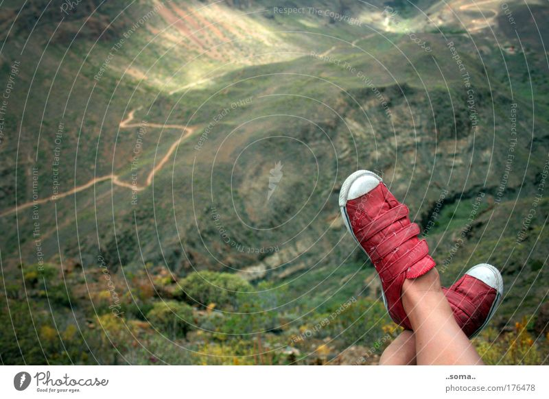 Off-back overview Relaxation Calm Vacation & Travel Trip Far-off places Freedom Mountain Hiking Nature Landscape Footwear Red Sit Above Green Moody Contentment