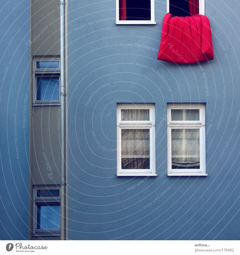 Duvet hangs out of the window for ventilation House (Residential Structure) Quilt Ventilate Window Facade Rain gutter Blue Red Arrangement Clean