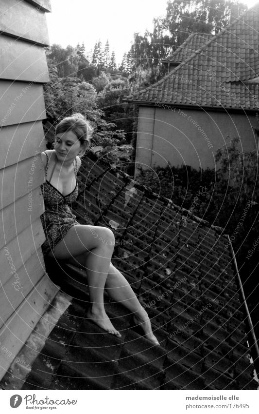 On the Roof Black & white photo Exterior shot Day Looking away Freedom Expedition Sunbathing House (Residential Structure) Feminine Young woman