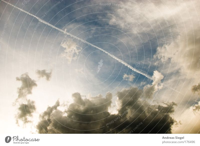 Nature Blue White Summer Clouds Environment Gray Air Weather Climate Beautiful weather Climate change Bad weather Vapor trail Sky only