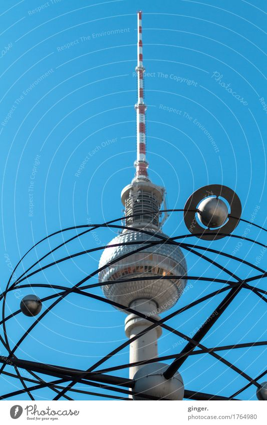 Alex meets Saturn Berlin Berlin TV Tower Alexanderplatz Capital city Tourist Attraction Landmark Blue Gray Red Silver White World time clock Rotate Stand Sphere