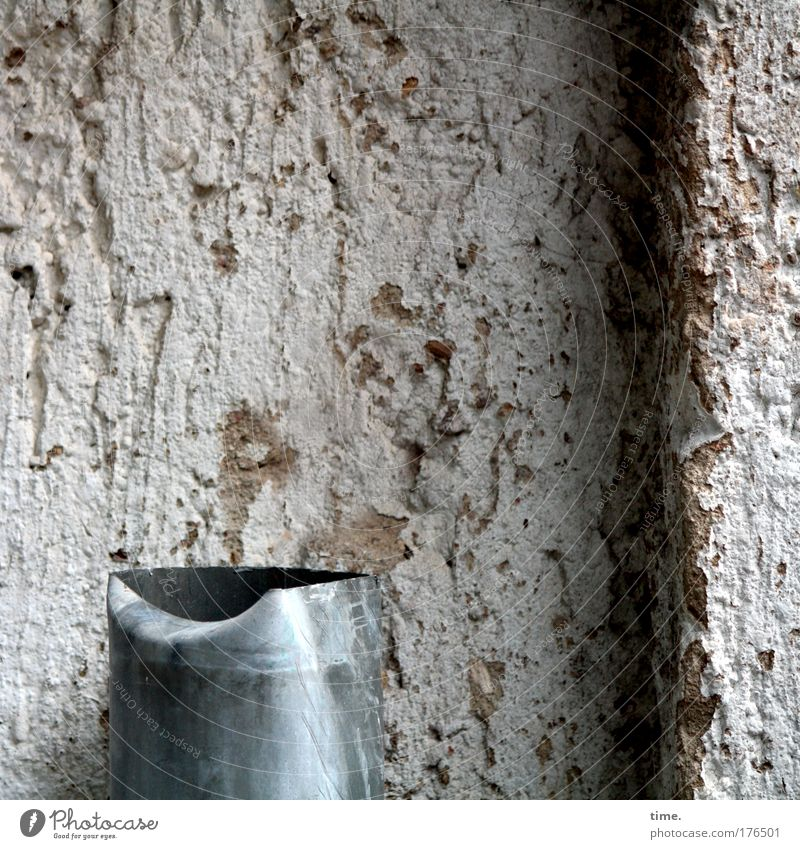 Water House (Residential Structure) Wall (barrier) Broken End Part Plaster Destruction Tin Warped Bulge Downspout