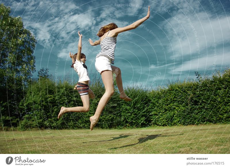 Human being Youth (Young adults) Tree Summer Woman Joy Life Feminine Playing Grass Happy Laughter Jump Garden Healthy Infancy