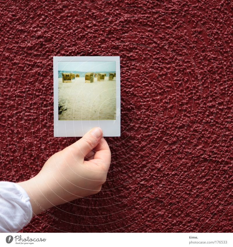 Hand Red Beach Polaroid Wall (building) Sand Photography Concrete Art Furniture Image Human being Plaster Beach chair Converse Work of art