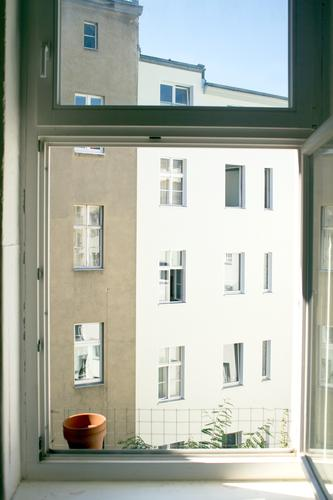 City Summer Sun House (Residential Structure) Window Berlin Facade City life Flat (apartment) Copy Space Air Open Vantage point Direct View from a window