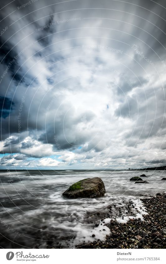 stony Beach Ocean Nature Landscape Water Clouds Horizon Autumn Climate Weather Baltic Sea Blue Black White Mecklenburg-Western Pomerania Coast Rock Sky