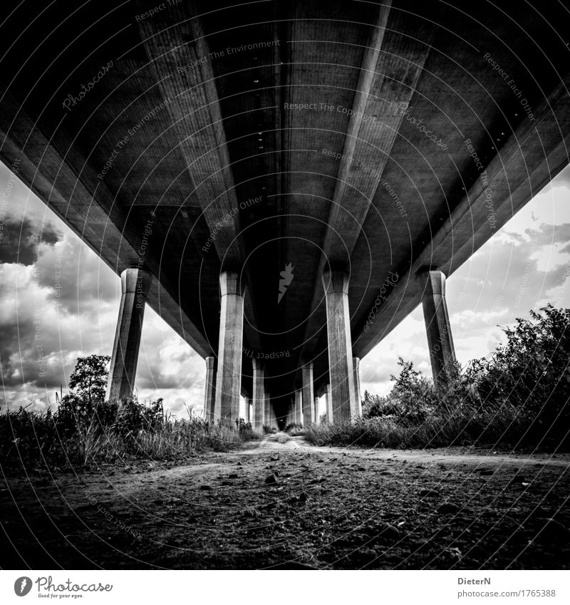 Sky White Clouds Black Architecture Lanes & trails Gray Sand Line Bushes Concrete Bridge Manmade structures Highway Column
