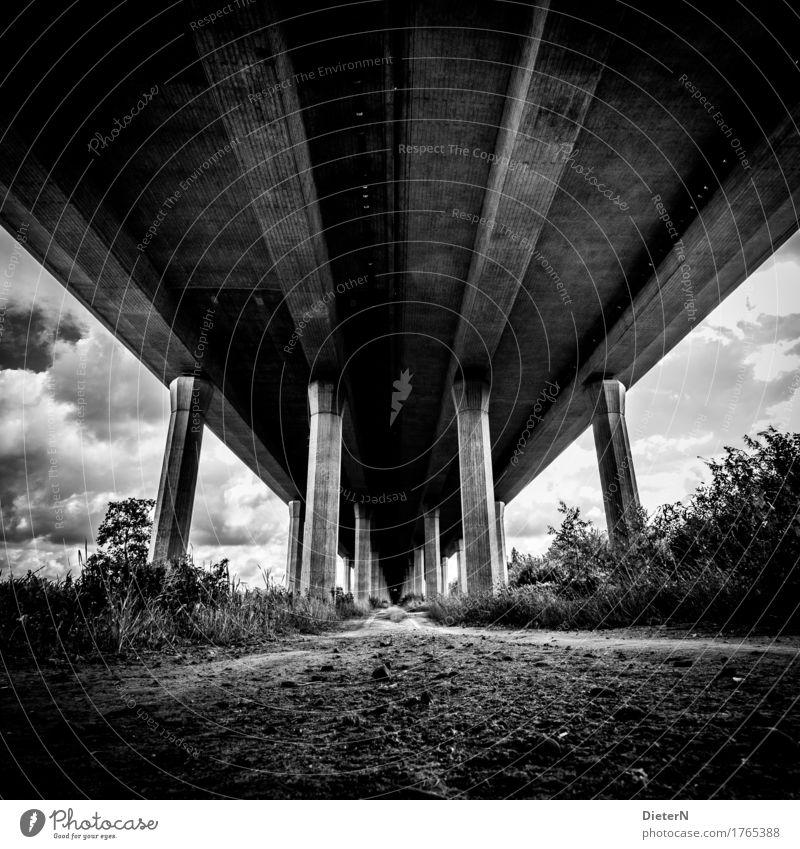 Sky White Clouds Black Architecture Lanes & trails Gray Sand Line Bushes Concrete Bridge Manmade structures Highway Column