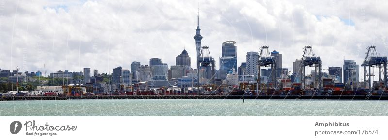 Auckland Seaside Colour photo Exterior shot Day Panorama (View) New Zealand Port City Skyline High-rise Harbour Living or residing Blue Large Panorama (Format)