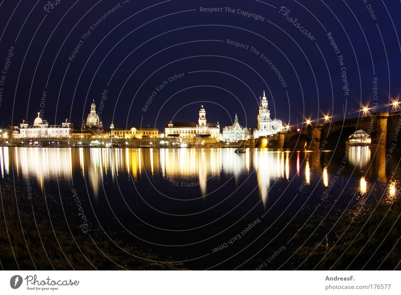 thresh Colour photo Exterior shot Copy Space top Copy Space bottom Night Reflection Dresden Town Capital city Downtown Old town Church Castle Tourist Attraction