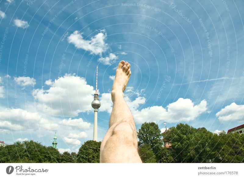A tower, a leg Berlin Capital city Sky Summer Vacation & Travel Berlin TV Tower Television tower Alexanderplatz alex Legs Feet Toes Stretching Parts of body