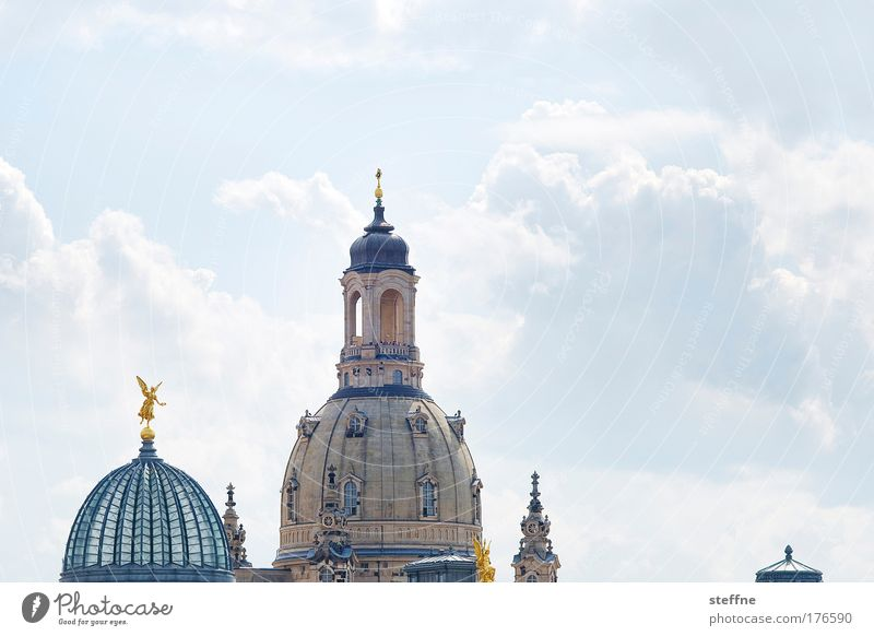 Beautiful Sky City Vacation & Travel Clouds Religion and faith Architecture Esthetic Tourism Church Dresden Statue Skyline Beautiful weather Museum