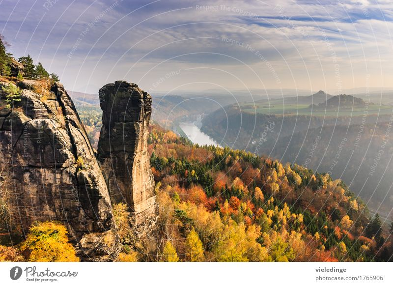 View of the Teufelsturm and the Elbe valley Vacation & Travel Tourism Mountain Hiking Nature Landscape Horizon Autumn Rock Stone Moody Idyll Evening sun outlook