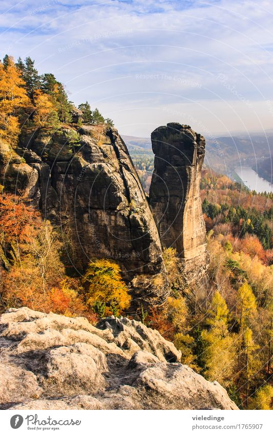 View of the Teufelsturm and the Elbe valley Vacation & Travel Tourism Mountain Hiking Nature Landscape Horizon Autumn Beautiful weather Rock Stone Moody Idyll