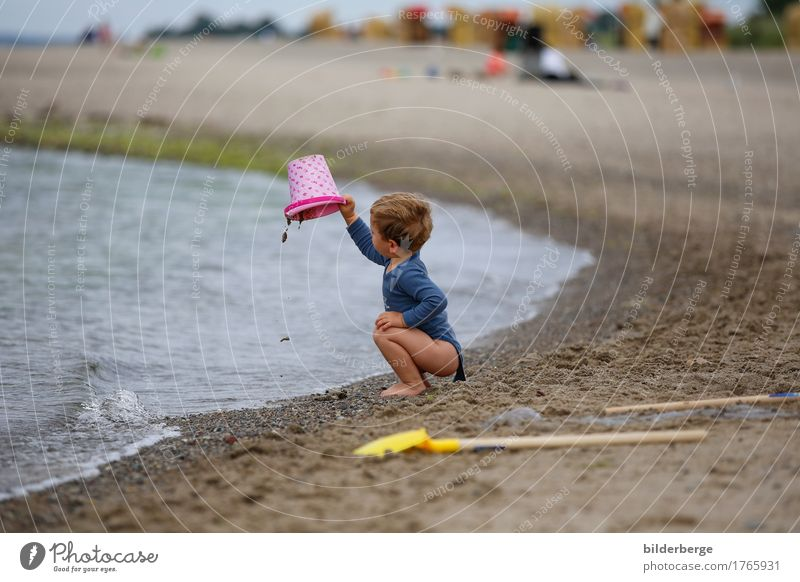 On the beach Happy Playing Vacation & Travel Summer Beach Ocean Child Boy (child) 1 - 3 years Toddler 3 - 8 years Infancy Nature Baltic Sea Playground Build