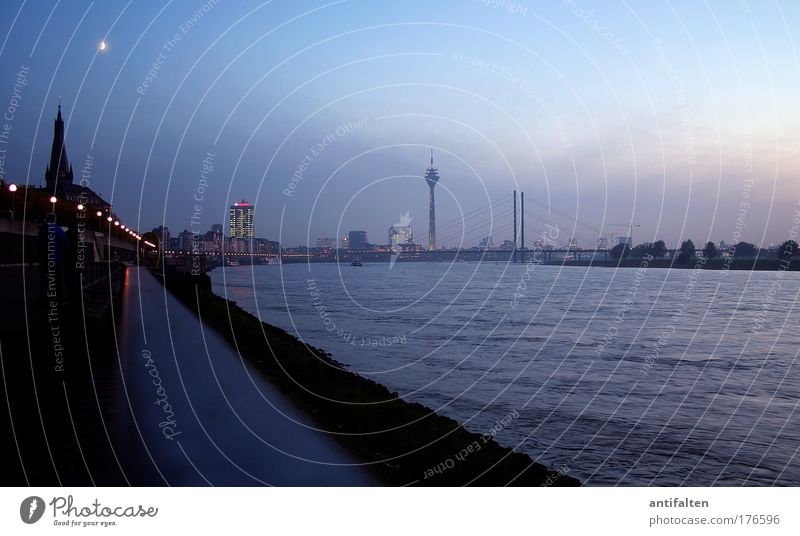 Nature Blue City Black Germany Trip Bridge Tourism Night sky Skyline Moon Downtown Duesseldorf River bank Television tower Tourist Attraction