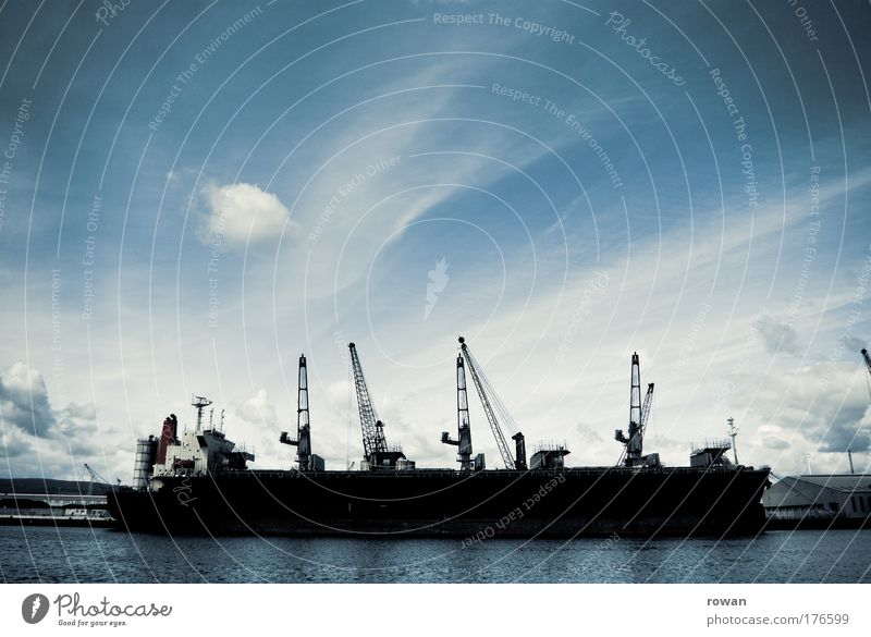 Sky Water Ocean Dark Watercraft Wait Transport Large Industry Threat Logistics Harbour Navigation Jetty Trade Crane