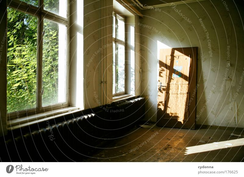 Nature Loneliness House (Residential Structure) Calm Environment Window Life Wall (building) Architecture Wall (barrier) Sadness Dream Interior design Time Door Room
