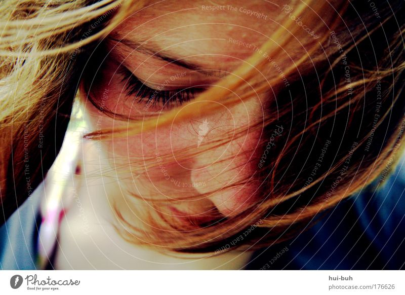 With you to Alice Colour photo Exterior shot Shallow depth of field Portrait photograph Downward Looking away Young woman Youth (Young adults) Head Emotions