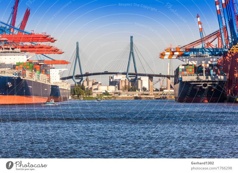 Ocean Business Tourism Transport Bridge Hamburg Logistics Harbour Skyline Tourist Attraction Economy Navigation Traffic infrastructure Highway Port City