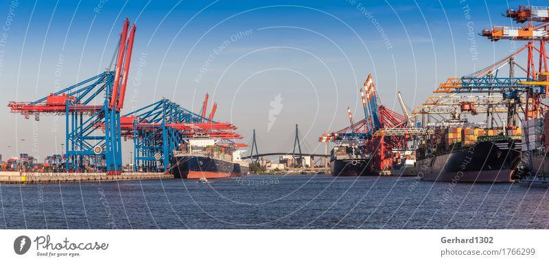 Tourism Work and employment Transport Bridge Hamburg Logistics Harbour Skyline Panorama (Format) Economy Navigation Traffic infrastructure Dusk Port City