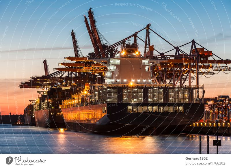Water Business Tourism Work and employment Transport Industry Hamburg Planning Logistics Harbour Navigation Port City Industrial plant Night sky