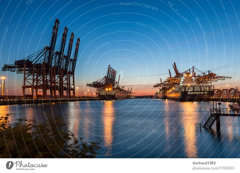 Container port Hamburg in the evening Water Night sky Port City Transport Logistics Navigation Container ship Harbour Work and employment Maritime Diligent