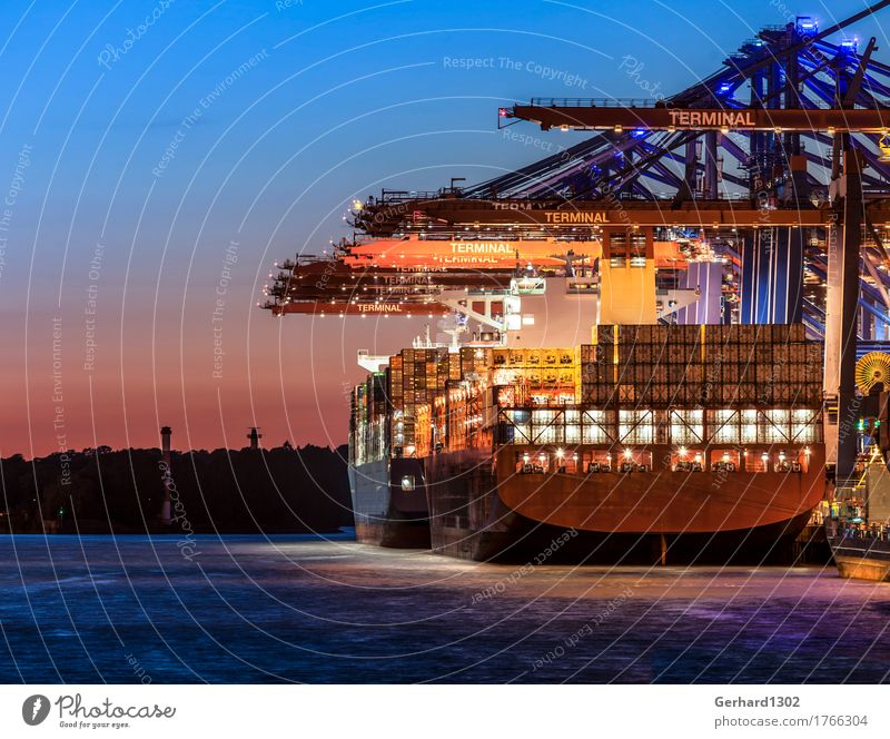 Blue Water Business Orange Power Gold Hamburg Logistics Harbour Tourist Attraction Economy Navigation Container Port City Industrial plant Load