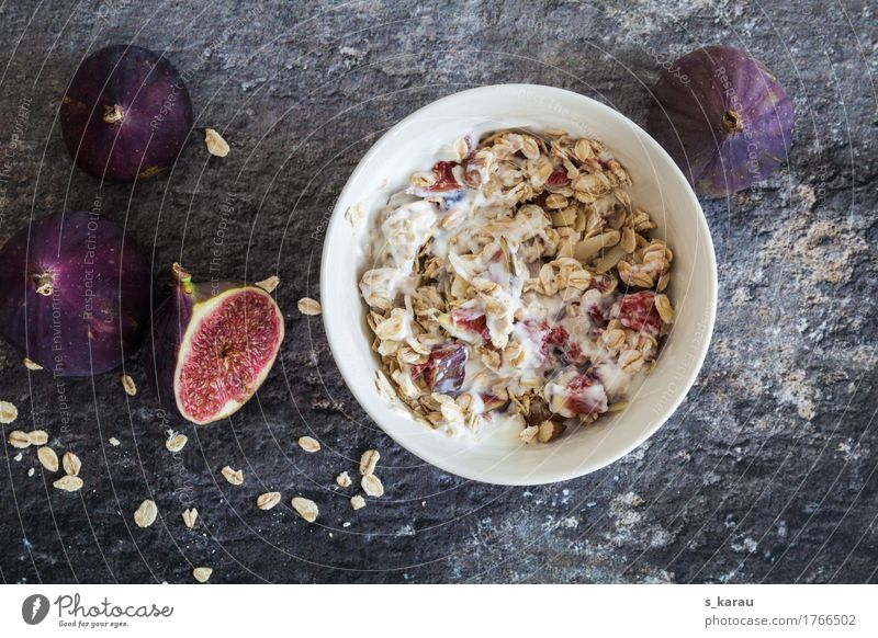 Oatmeal Breakfast Food Yoghurt Dairy Products Fruit Grain Nutrition Organic produce Vegetarian diet Diet To enjoy Simple Healthy Gray Violet Vegan diet
