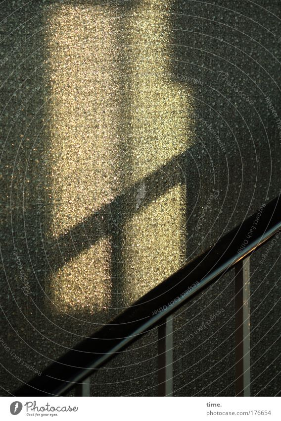 Staircase in the evening Stairs Staircase (Hallway) Evening Light Colour photo Banister Glass Slice Shadow Twilight up Upward Diagonal Crucifix Loneliness Empty