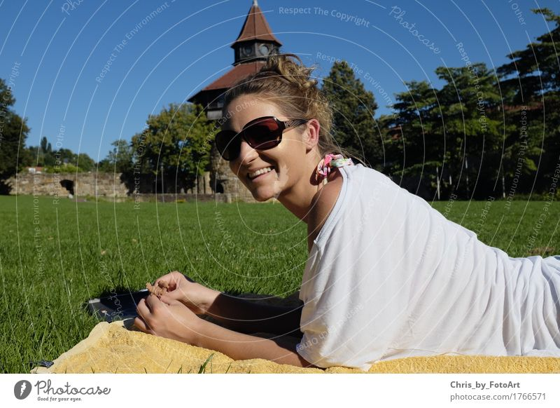 chris_by_photoart Contentment Relaxation Summer Young woman Youth (Young adults) Woman Adults 1 Human being 18 - 30 years Esslingen district Park Castle T-shirt