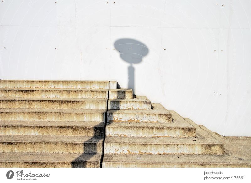 A cross between concrete and shadow Environment Wall (barrier) Stairs Concrete Sharp-edged Simple Modern Corner Dirty Upward Downward Shadow play Subdued colour