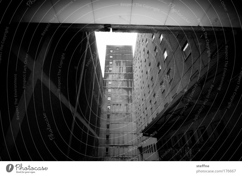 ghetto Black & white photo Exterior shot Deserted Shadow Contrast Deep depth of field Wide angle Downtown Berlin High-rise Prefab construction Ghetto