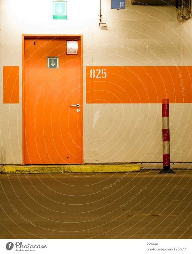 825 Colour photo Parking garage Transport Street Old Dark Calm Esthetic Underground garage Garage Door Way out Entrance Pole Signs and labeling