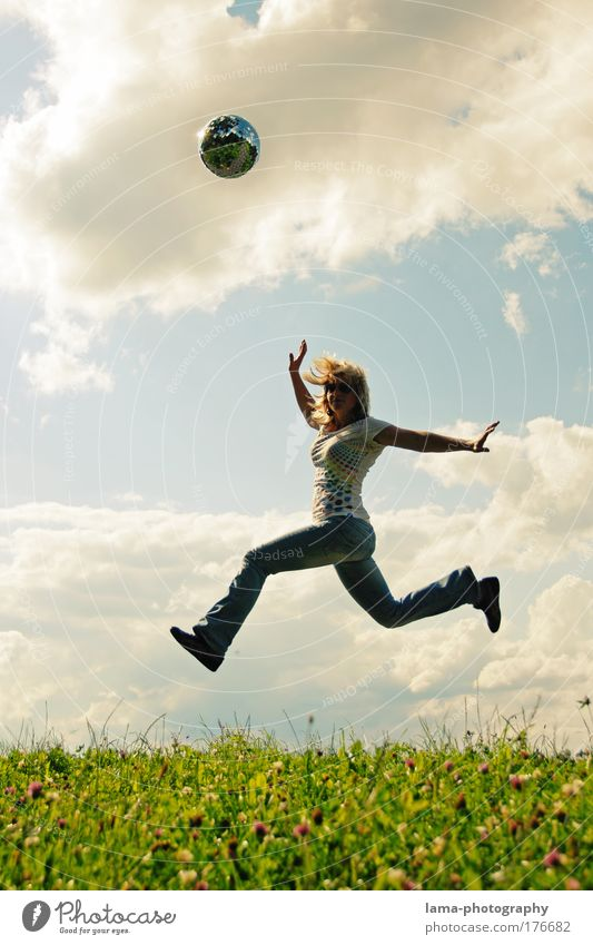 Human being Nature Youth (Young adults) Woman Summer Joy Adults Meadow Life Landscape Feminine Freedom Laughter Jump Spring Flying