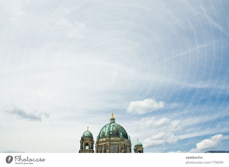 Berlin Cathedral Sky Heaven Summer Vacation & Travel Dome Religion and faith Church Domed roof Hohenzollern Clouds Copy Space